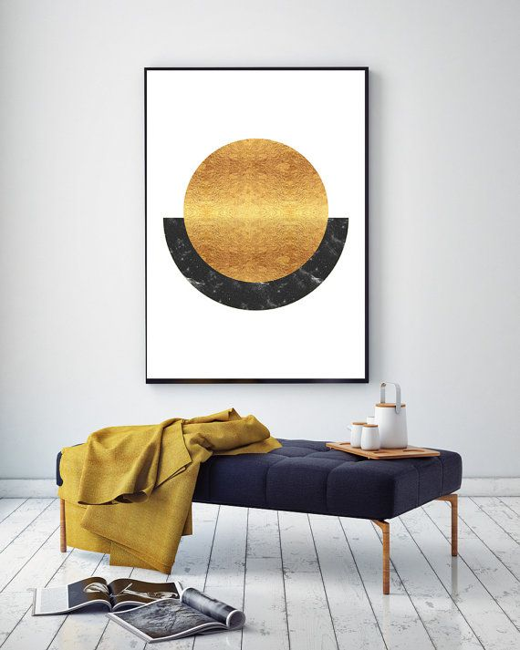 Rising Sun  Abstract Spheres Black and Gold by NordicPrintStudio
