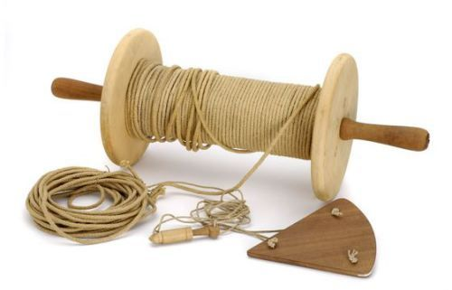 Log-Line: Hemp line or cord, from 150 to 200 fathoms in length, fastened to the log-chip by means of three legs of cord, and wound on a reel, is trailed from a ship to determine its speed.