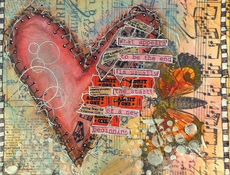Art Journaling Mixed Media: Broken Heart - I love the faux stitching! I don't have the stamp but will draw lines with my black Pitt pen and dots of white