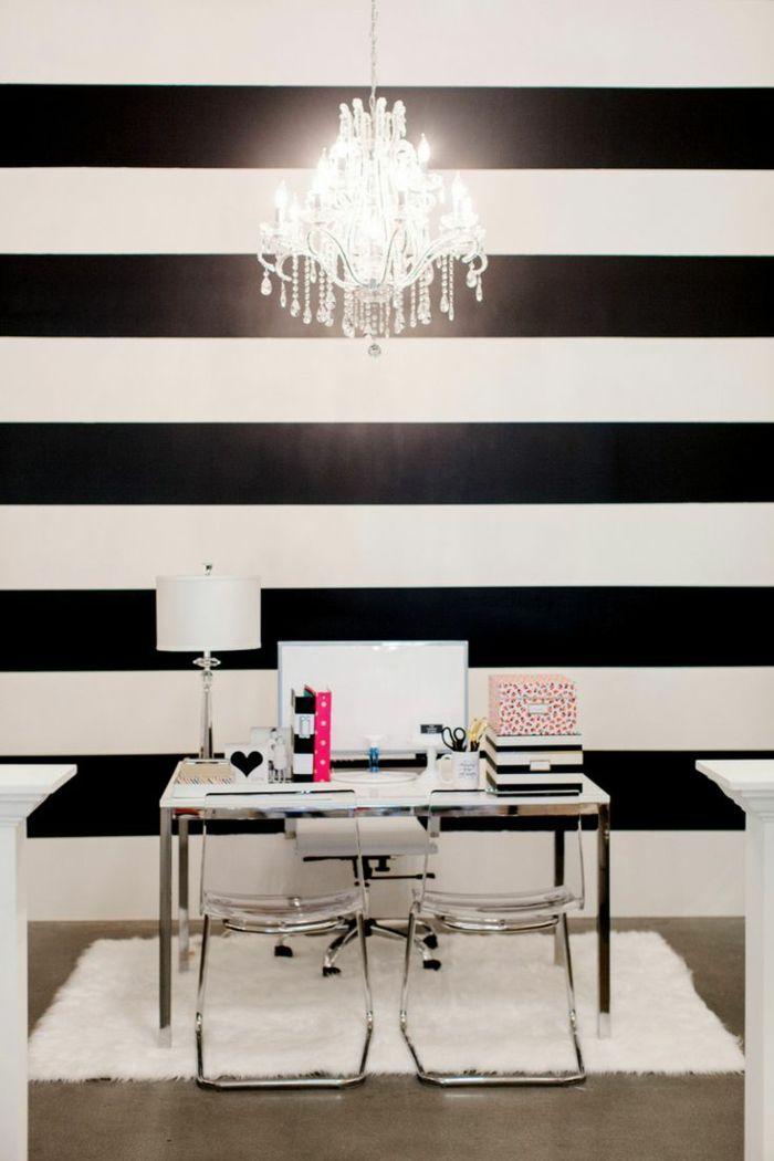 Muster In Schwarz Weiß Wandgestaltung Mit Farbe Schwarz Weiß Wohnzimmer  Einrichten Weiss Schwarz Streifen Horizontal