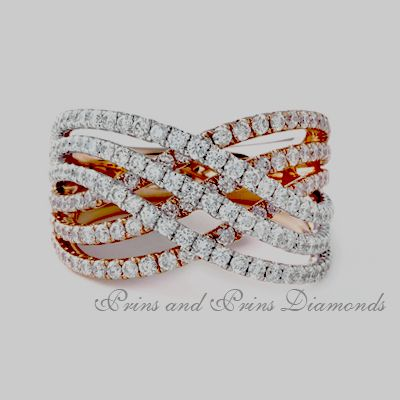 174 = 1.52ct GH/VS – SI round brilliant cut diamonds pave set in an 9 row 18k rose and white gold eternity ring