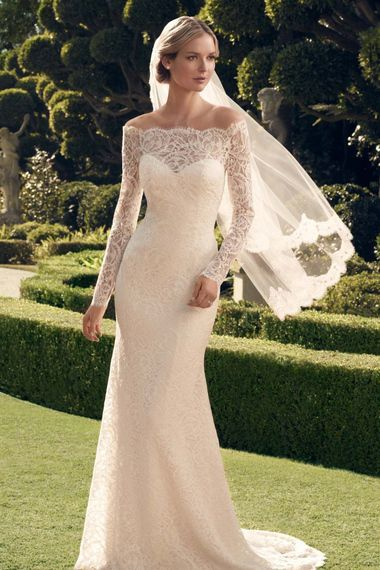 Lacy, off-the-shoulder glamour from Casablanca Bridal