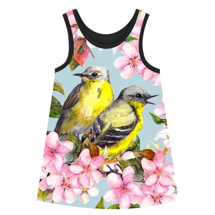 Goedkope Meisje kleding slabbetjes jurk Meisjes Jurken Mooie bloemen Vogels Zomer stijl grote brand Print Kinderen Designer baby Kids Kleding, koop Kwaliteit jurken rechtstreeks van Leveranciers van China: