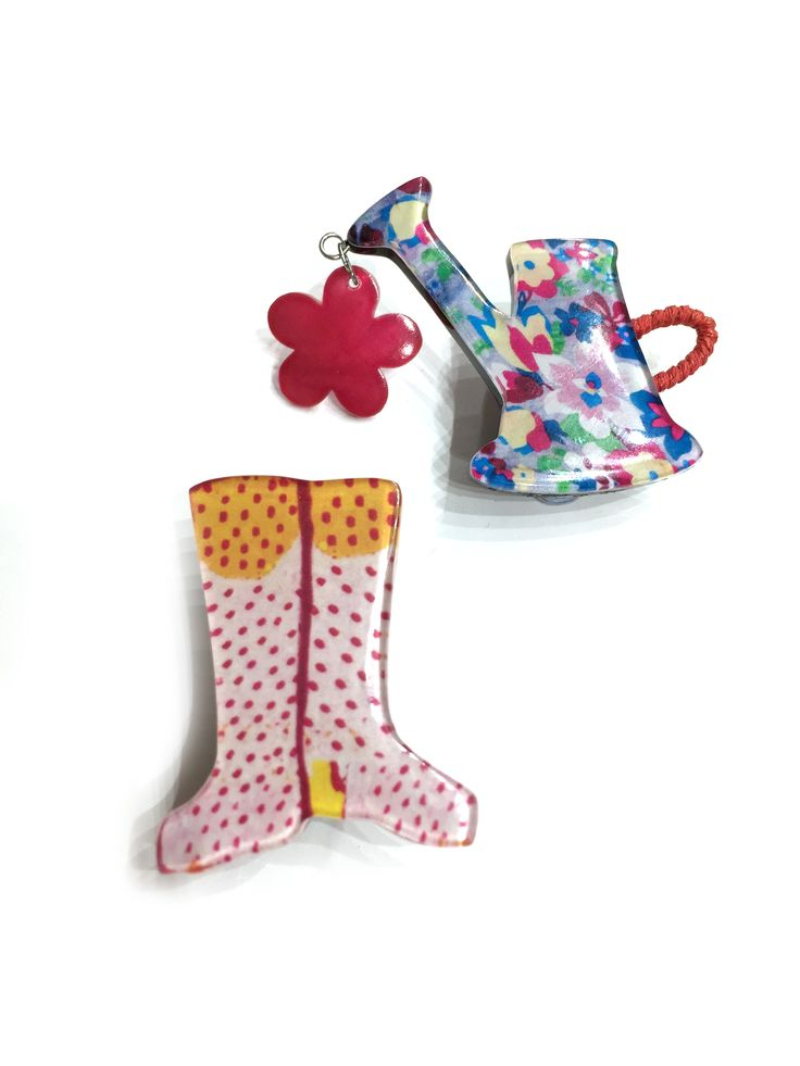 Beatrice - flowery w/can & spotty wellies One Button brooch set #multi #springsummer #brooch #accessories #onebutton  Click to buy from the One Button shop.