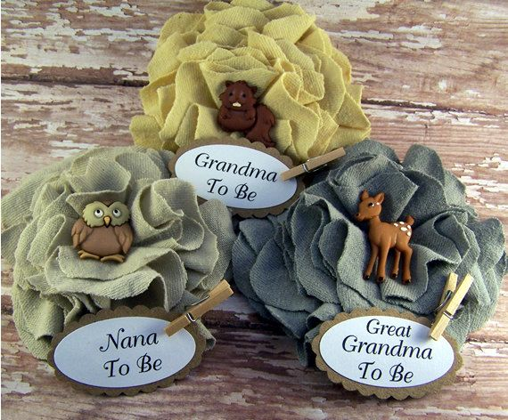 Ready To Ship  3 Woodland Animal Baby Shower Guest Corsages  ANY Name on Tag    Deer  Beaver  Owl    *In Notes To Seller at checkout please leave