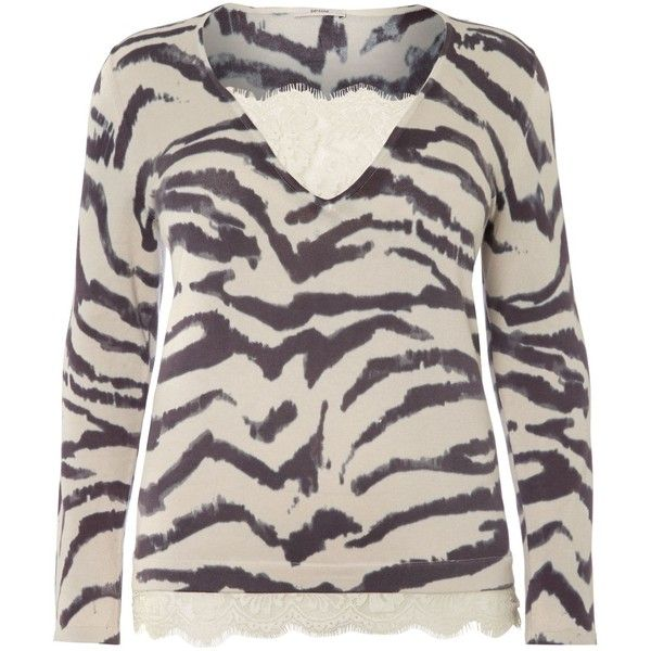 Persona Plus Size Adri v neck leopard knitted sweater (£40) ❤ liked on Polyvore featuring tops, sweaters, beige, clearance, cotton sweaters, leopard print sweater, plus size cotton sweaters, womens plus tops and pink v neck sweater