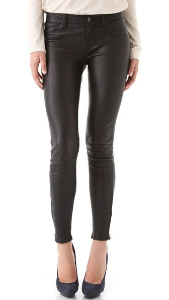 J Brand Super Skinny Leather Pants...so obsessed. Want to wear these with an oversized off the shoulder tee shirt and studded pumps.