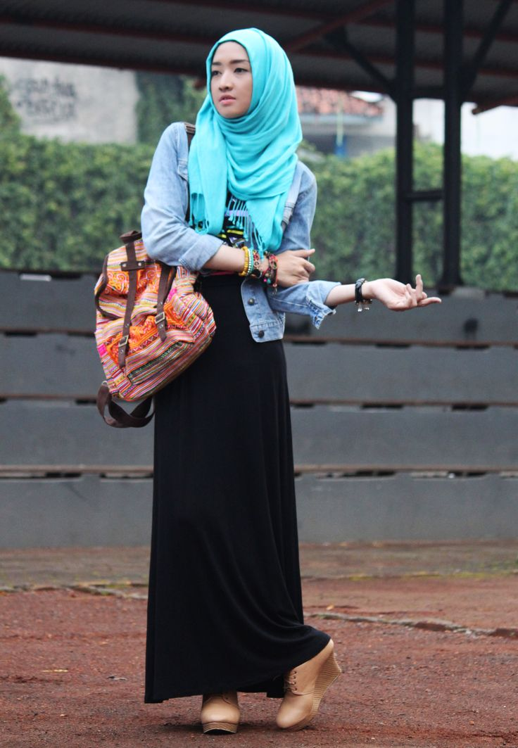 shawl, black long dress, jacket jeans,  tibet backpack, wedges shoes