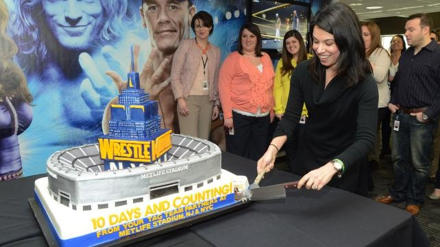 """The """"Cake Boss"""" team presents WWE with a WrestleMania 29 cake."""