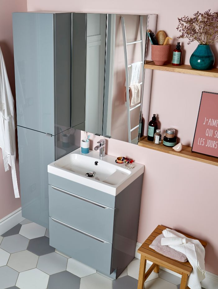 meuble sous vasque poser gris brillant goodhome imandra. Black Bedroom Furniture Sets. Home Design Ideas
