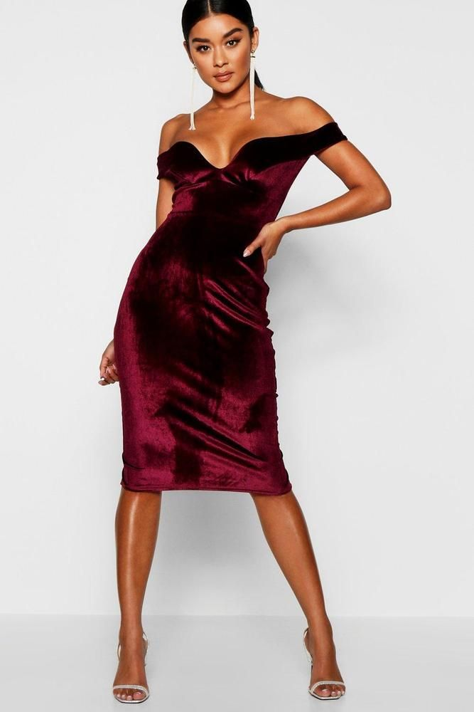 5fab27b81b53 Boohoo Womens Velvet Off Shoulder Bodycon Dress in Berry size 8 #fashion # clothing #shoes #accessories #womensclothing #dresses (ebay link)