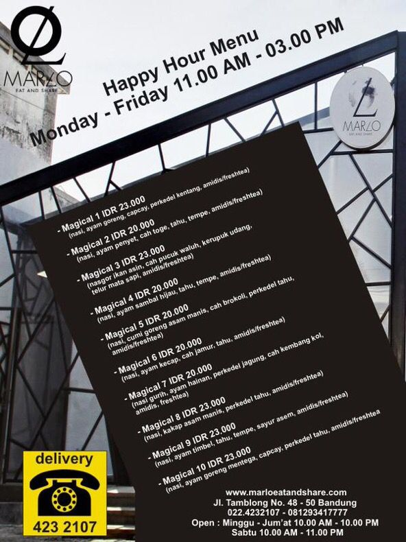 Udah siap nikmatin menu Happy Hour kita? Yuk langsung aja ke Marlo Eat and Share, hanya berlaku setiap weekdays. :)  MARLO Eat & Share  Jl. Tamblong 48-50 Bandung  @marloeatnshare  Reservasi :  Rian : 0812 9341 7777 Pin : 292BB864  www.marloeatandshare.com