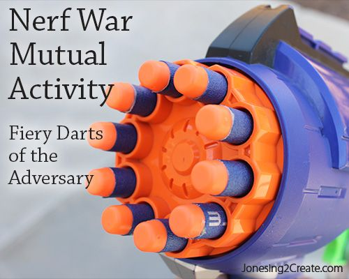 Finally a Nerf war you can play with the young women for a mutual activity that doesn't require pulling together a ton of Nerf guns. The best part of this mutual activity is that the Nerf war can also be used as an object lesson so that there is a spiritual tie in.