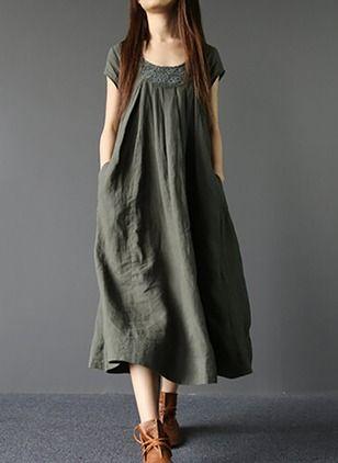 Linen Solid Short Sleeve Mid-Calf Casual Dresses (1045045) @ floryday.com
