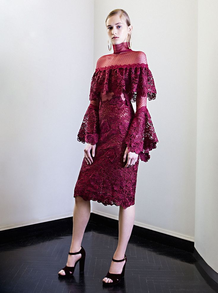 PR 1772 Guipure Lace Tiered Ruffle Dress, Burgundy Red