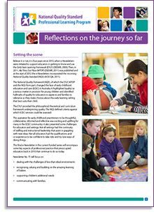 This is our final NQS PLP e-Newsletter titled 'Reflections on the journey so far'! http://wp.me/p2wNWe-19F  In this e-Newsletter, Jenni Connor takes a look at how far the early childhood sector has come in understanding and implementing the National Quality Framework, including the Early Years Learning Framework and the Framework for School Aged Care.