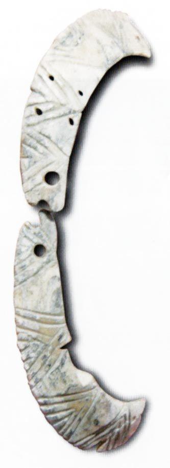 Çatalhöyük,VII.12 nolu evde bulunan yaban domuzu dişinden üretilmiş gerdanlık, James Mellaart (Erdinç Bakla archive)