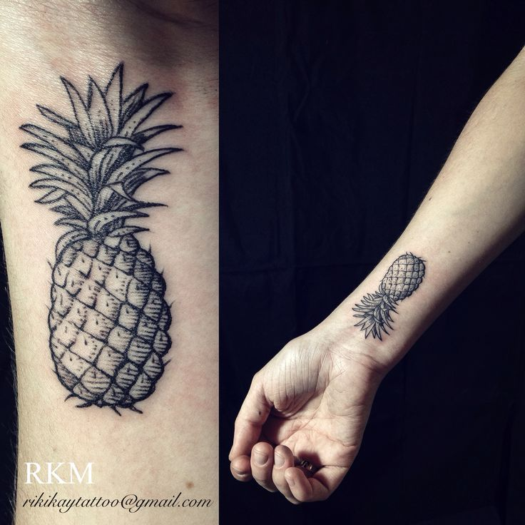 Pineapple tattoo by Riki-Kay Middleton.  Wrist tattoo in black and grey, etching style.