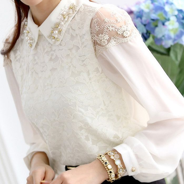 Camisa de chiffon 2013 outono tamanho camisa de renda mais longo manga da camisa feminina 1092 $11.38