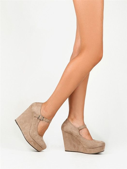 - Cozy suede and a chunky wedge heel preserve the signature charm of classic Mary Janes. - Mary Janes have a rounded toe, platform wedge heel and adjustable strap to the vamp. - Non-skid sole and cush