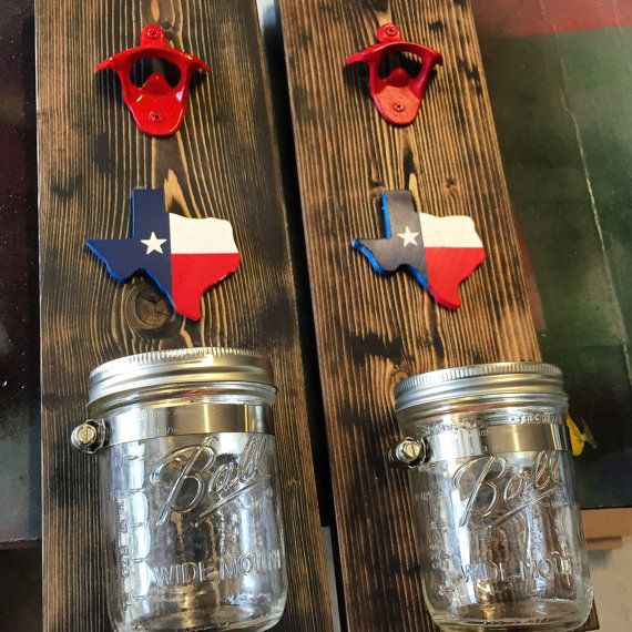 Texas Bottle Opener with Mason Jar Texas by TurquoiseOwlDesign