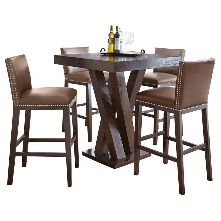 5 Piece Whitney Bar Height Dining Table Set Wood Chocolate Brown Steve