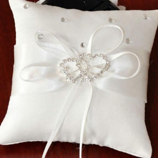 Chic Ivory Ring Bearer Pillow Cushions Wedding Party Crystal Hearts Bearers F98