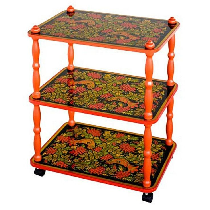 Khokhloma Painting / Beautiful Hand-painted Three-Tiered Rolling Trolley / Table