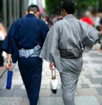 A yukata (浴衣) is a Japanese garment, a casual summer kimono usually made of cotton. Yukata are worn by both men and women. Men's yukata are distinguished by the shorter sleeve extension of approximately 10cm from the armpit seam, compared to the longer 20cm sleeve extension in women's yukata.