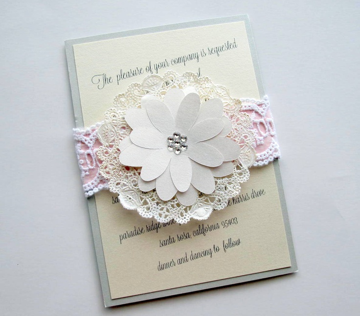 Lace Doily Wedding Invitation Country Shabby Chic 850 Via Etsy