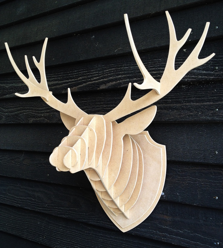 Stag head made from MDF, I also made the template it was cut from