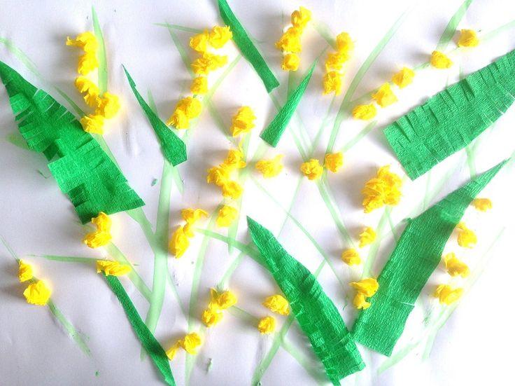 Brins de mimosa en papier cr pon d coupage collage dessin yoopala cr ation mimosa arbre - Fabriquer des fleurs en papier crepon ...