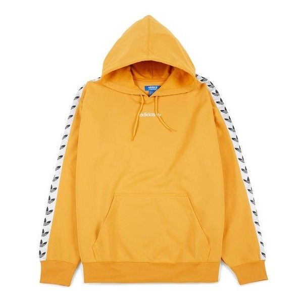 Adidas Originals TNT Trefoil Hoodie, Tacticale Yellow/White BS4669... ($97) ❤ liked on Polyvore featuring tops, hoodies, white hoodie, yellow hooded sweatshirt, yellow hoodies, adidas originals hoodie and white hooded sweatshirt