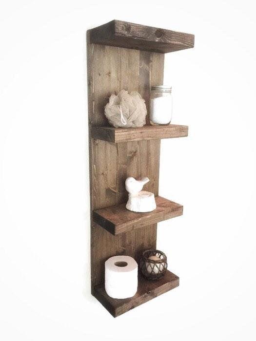 rustic wooden shelf large bathroom shelf wall shelf floating rh pinterest com