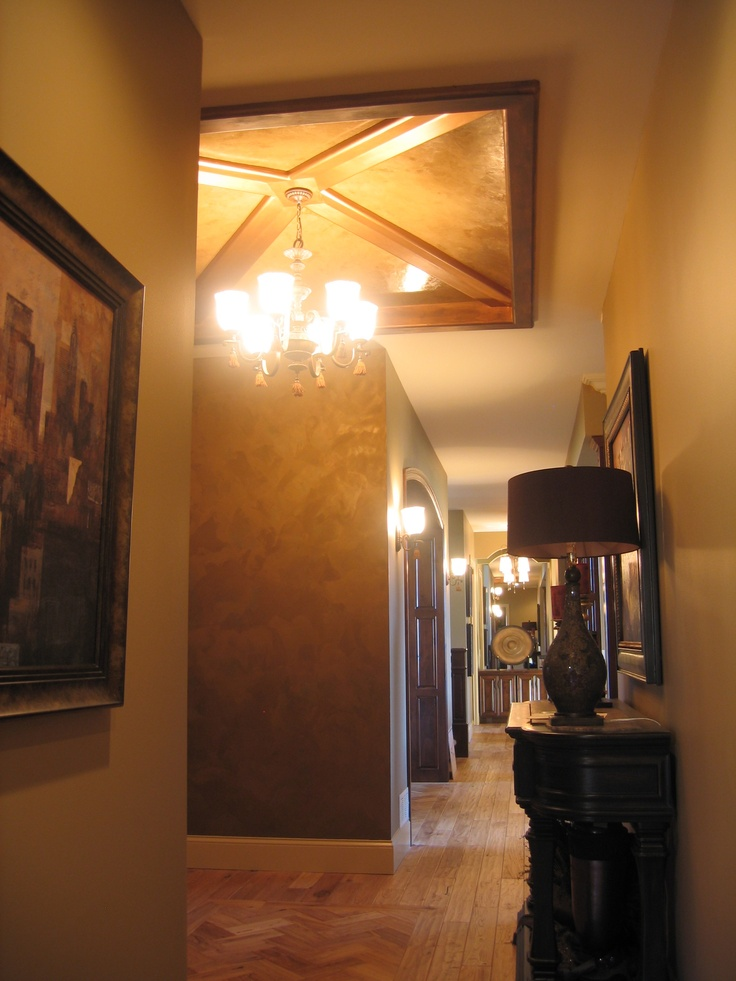"""Entry Way - Unique Ceiling"" - We layered Italian Venetian Plaster on the ceiling with a hint of gold mica powder. The walls were an Italian Finish to pull everything together. Small area to create some drama, next to the rich paint colored walls. http://www.bellafauxfinishestv.com/"