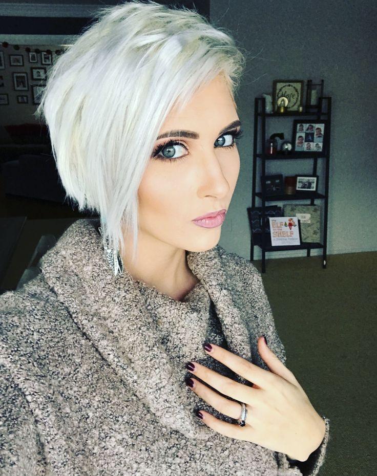 Platinum pixie hair cut ice white pixie hair long pixie ...