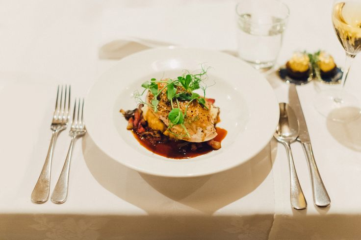 Free Range Chicken Breast with sauteed mushroom, gypsy bacon, shallots & thyme, skordalia & chicken jus. Wedding photo credit - Patina Photography