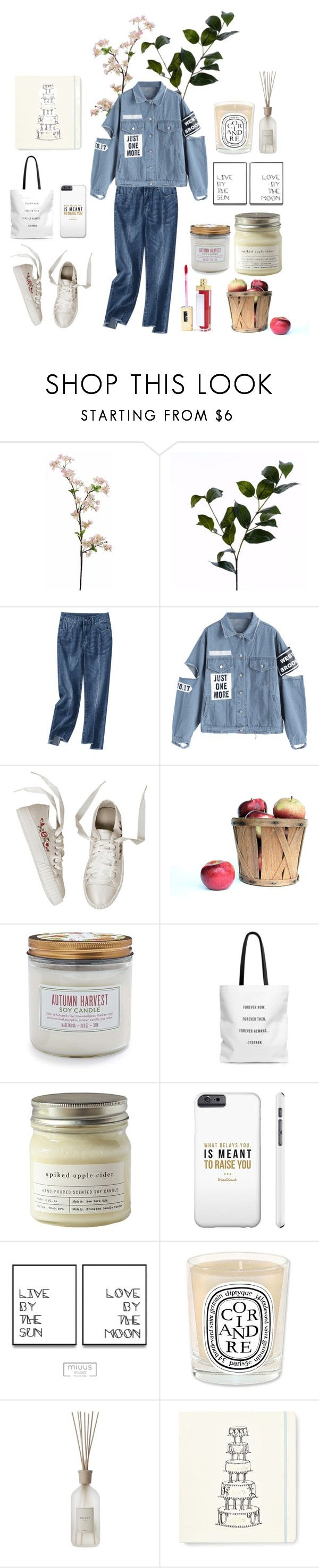 """""""justonemore"""" by vicococo ❤ liked on Polyvore featuring Wyld Home, Sur La Table, Brooklyn Candle Studio, Culti, Kate Spade, Gerard Cosmetics and applepicking"""