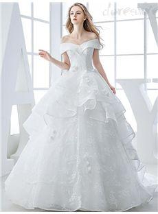 2016新作Vネックオフショルダーの高級ウェディングドレス 花嫁ドレス
