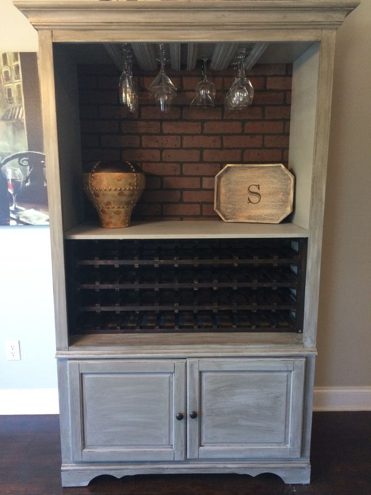 Turned an old entertainment center into a wine bar.
