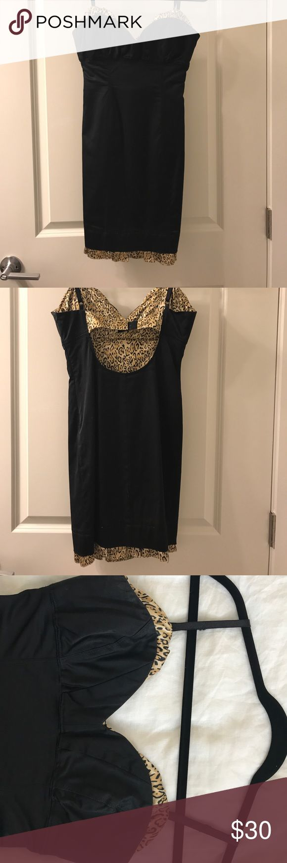 Stretch Guess dress with cheetah print lining Black stretch Guess dress with cheetah print lining Guess Dresses