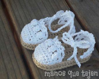 Sandalias Alpargatas a crochet para bebe