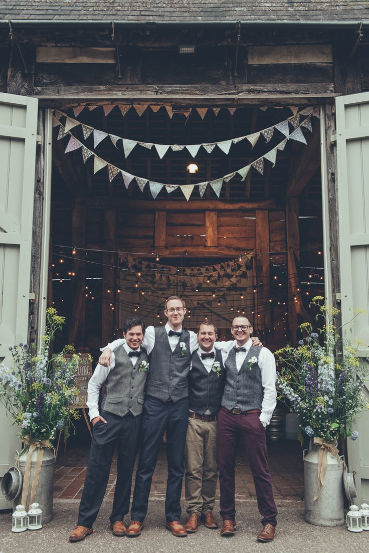 Groomsmen Mismatched Waistcoats Chinos Bow Ties Rustic Home Made Country Barn Wedding http://lisahowardphotography.co.uk/