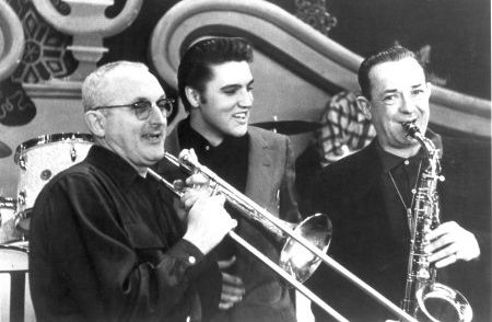 "Tommy and Jimmy Dorsey with Elvis Presley in 1956 - ""During our rehearsal with him, some guys fell off the bandstand laughing at Elvis,recalled musician Pat Chartrand. ""It was so shocking to all of us, we couldn't believe it.""    http://www.elvis-history-blog.com/elvis-dorsey.html#"