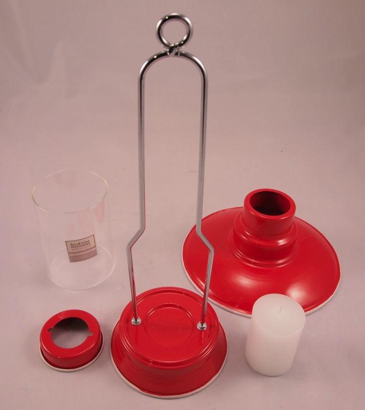 Steady Sticks Retro Kitchen enamel red Alfresco Lamp, candle, great gift idea