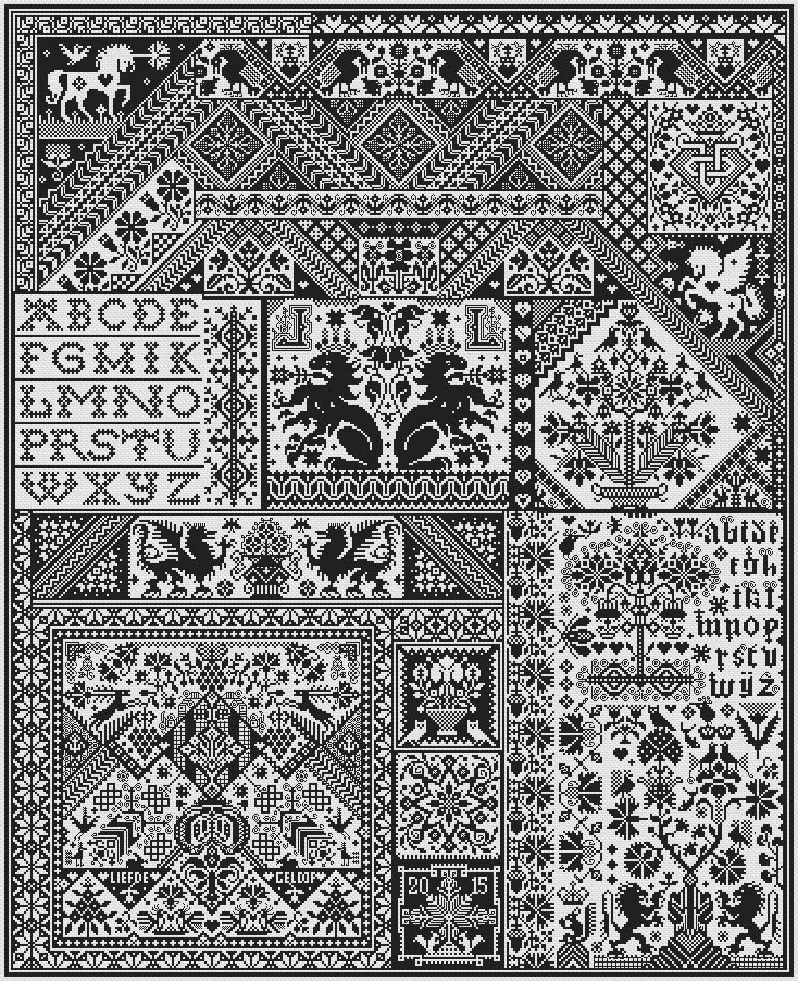 Long Dog Samplers 20th anniversary sampler - DEATH BY CROSS STITCH 363 x 447 stitches.