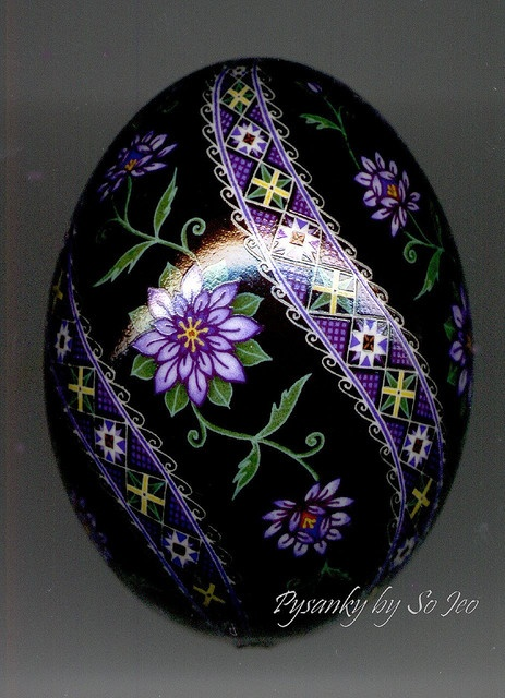 Beautiful pysanka egg by Canadian artist So Jeo