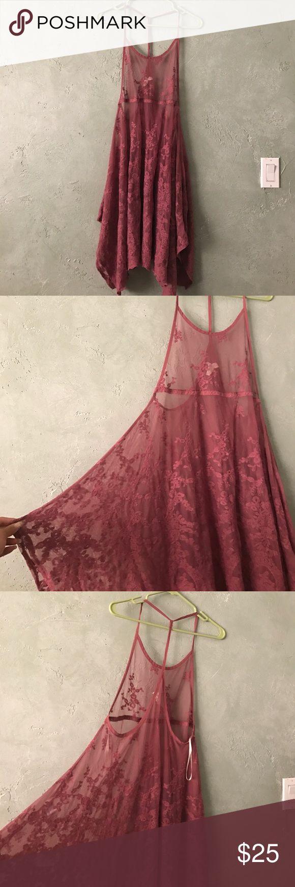 NWOT LACE COACHELLA DRESS Never worn mesh lace Mauve Flowing Midi ✨ Forever 21 Dresses Mini