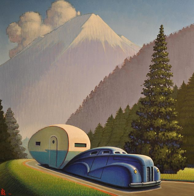"""""""Mountain Road""""   by Robert LaDuke.  This guy has a lot of cool vintage travel poster looking stuff."""