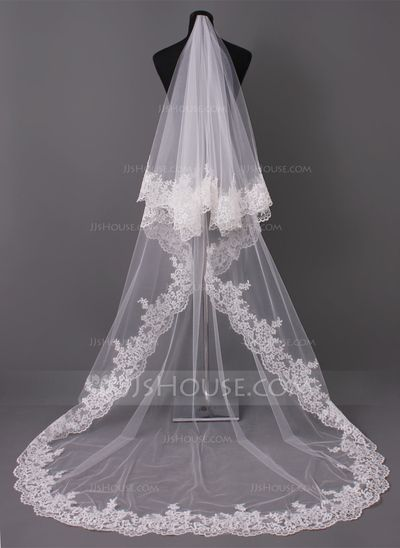 Wedding Veils - $46.99 - One-tier Cathedral Bridal Veils With Lace Applique Edge (006005417) http://jjshouse.com/One-Tier-Cathedral-Bridal-Veils-With-Lace-Applique-Edge-006005417-g5417?ver=1